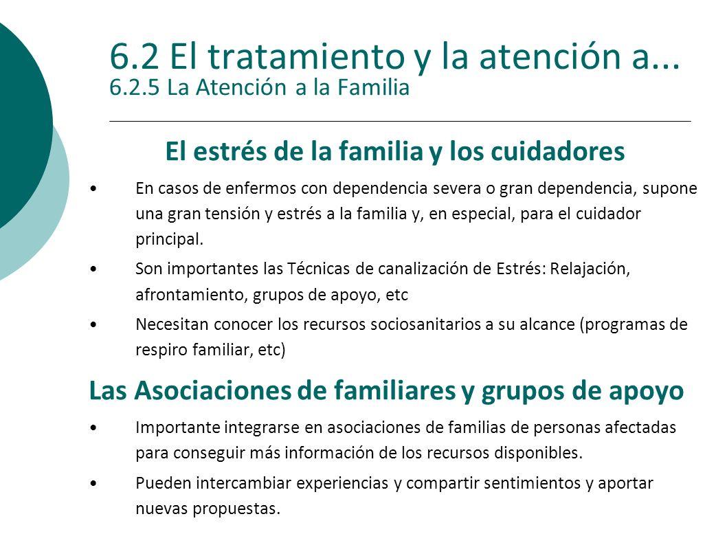 6.2 El tratamiento y la atención a... 6.2.5 La Atención a la Familia El estrés de la familia y los cuidadores En casos de enfermos con dependencia sev