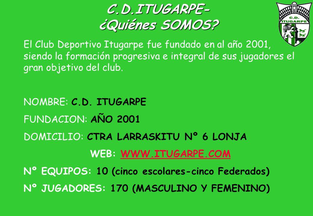 C.D.ITUGARPE- ¿Quiénes SOMOS? El Club Deportivo Itugarpe fue fundado en al año 2001, siendo la formación progresiva e integral de sus jugadores el gra