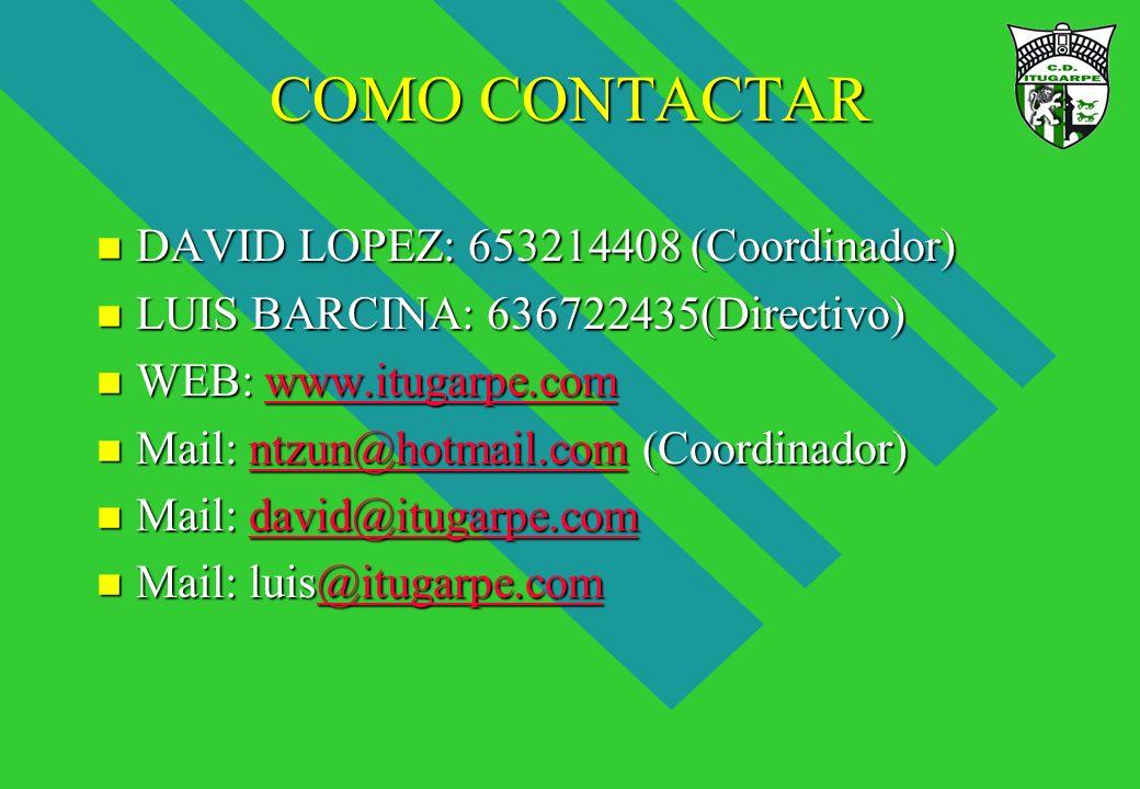 COMO CONTACTAR n DAVID LOPEZ: 653214408 (Coordinador) n LUIS BARCINA: 636722435(Directivo) n WEB: www.itugarpe.com www.itugarpe.com n Mail: ntzun@hotm