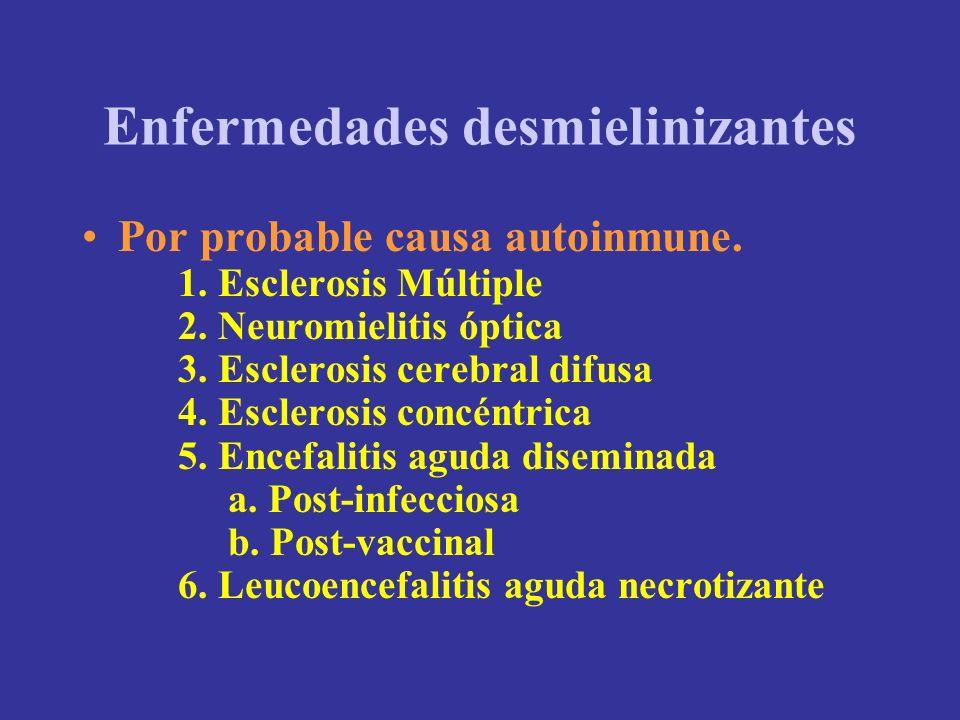 Enfermedades desmielinizantes Por probable causa autoinmune. 1. Esclerosis Múltiple 2. Neuromielitis óptica 3. Esclerosis cerebral difusa 4. Esclerosi