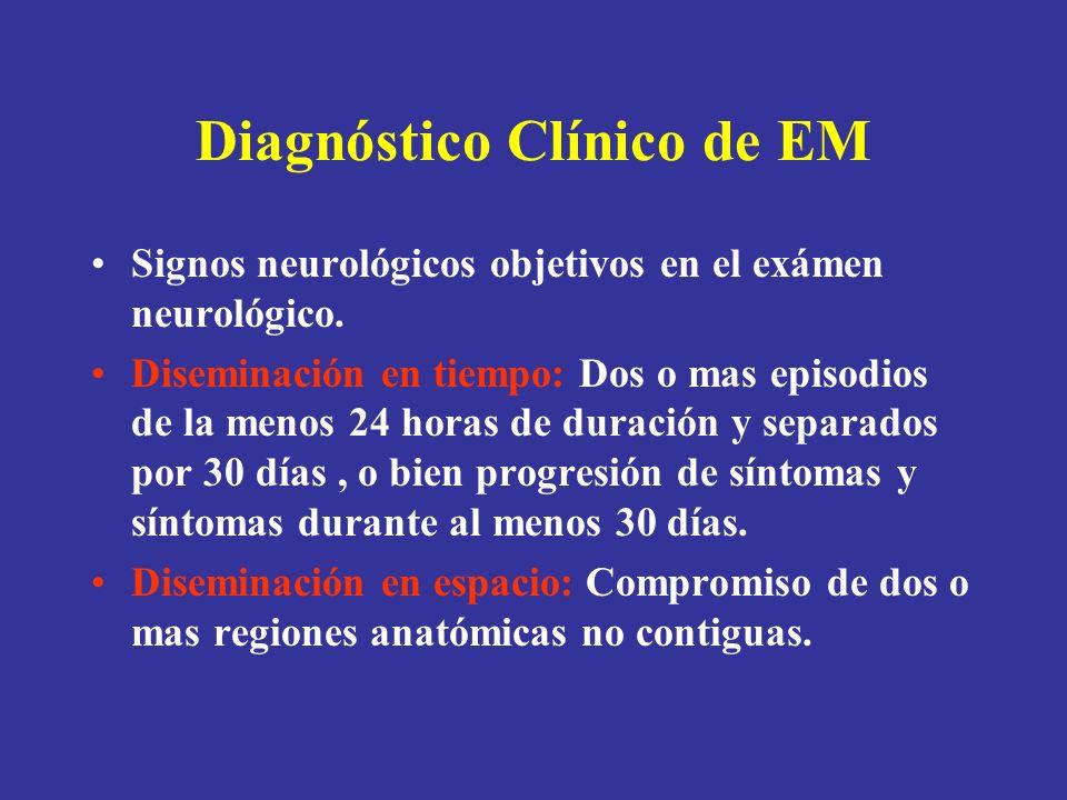 Diagnóstico Clínico de EM Signos neurológicos objetivos en el exámen neurológico. Diseminación en tiempo: Dos o mas episodios de la menos 24 horas de