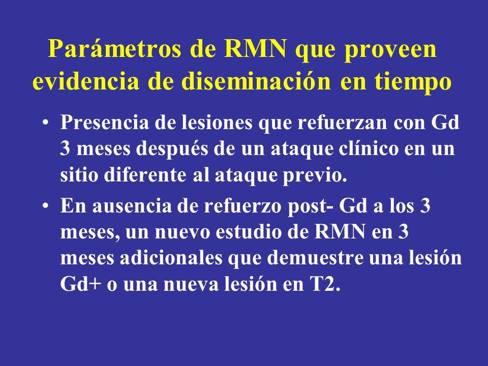 Parámetros de RMN que proveen evidencia de diseminación en tiempo Presencia de lesiones que refuerzan con Gd 3 meses después de un ataque clínico en u