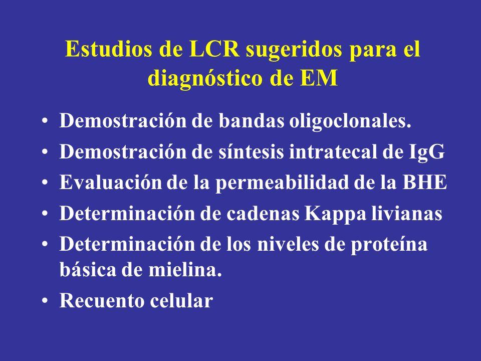 Estudios de LCR sugeridos para el diagnóstico de EM Demostración de bandas oligoclonales. Demostración de síntesis intratecal de IgG Evaluación de la