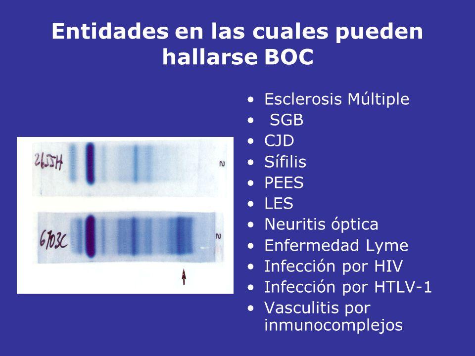 Entidades en las cuales pueden hallarse BOC Esclerosis Múltiple SGB CJD Sífilis PEES LES Neuritis óptica Enfermedad Lyme Infección por HIV Infección p