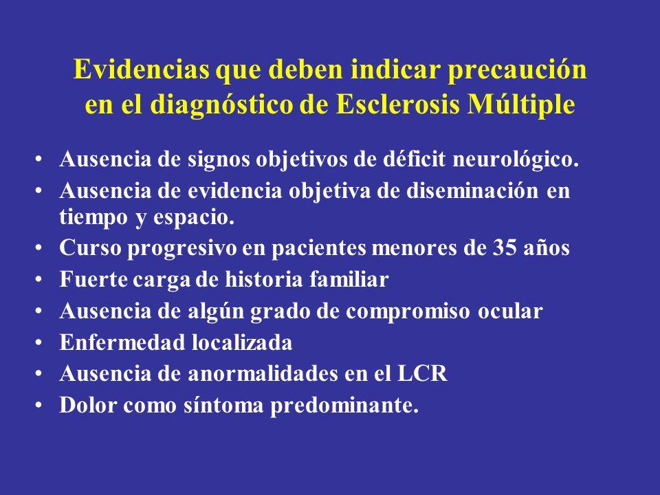 Evidencias que deben indicar precaución en el diagnóstico de Esclerosis Múltiple Ausencia de signos objetivos de déficit neurológico. Ausencia de evid