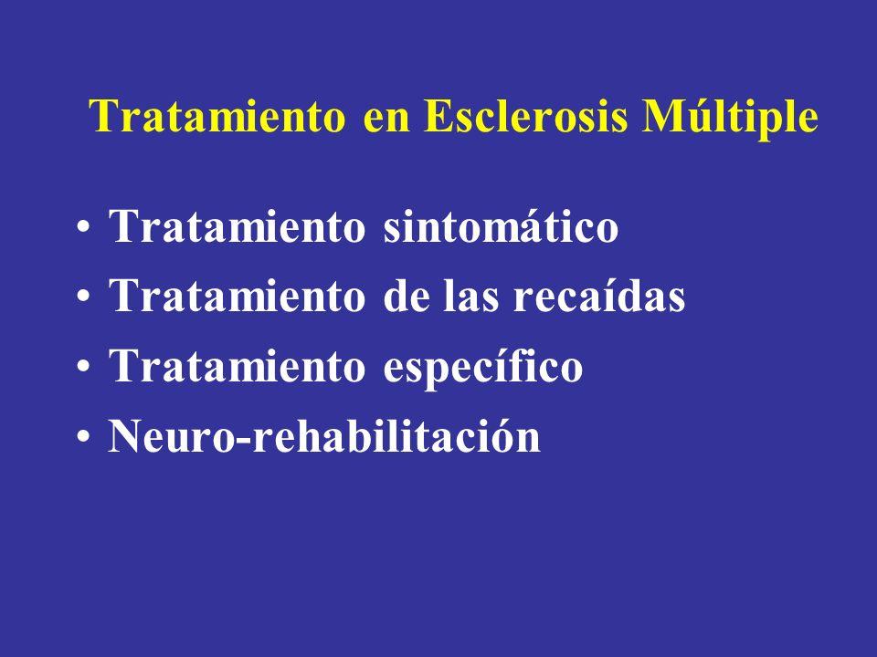 Tratamiento en Esclerosis Múltiple Tratamiento sintomático Tratamiento de las recaídas Tratamiento específico Neuro-rehabilitación