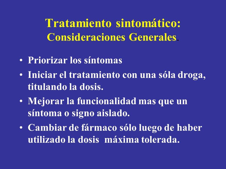 Tratamiento sintomático: Consideraciones Generales. Priorizar los síntomas Iniciar el tratamiento con una sóla droga, titulando la dosis. Mejorar la f