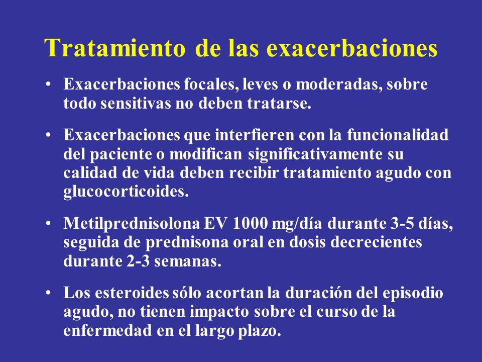 Tratamiento de las exacerbaciones Exacerbaciones focales, leves o moderadas, sobre todo sensitivas no deben tratarse. Exacerbaciones que interfieren c