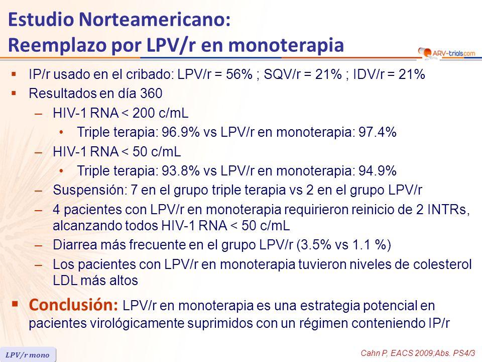 IP/r usado en el cribado: LPV/r = 56% ; SQV/r = 21% ; IDV/r = 21% Resultados en día 360 –HIV-1 RNA < 200 c/mL Triple terapia: 96.9% vs LPV/r en monoterapia: 97.4% –HIV-1 RNA < 50 c/mL Triple terapia: 93.8% vs LPV/r en monoterapia: 94.9% –Suspensión: 7 en el grupo triple terapia vs 2 en el grupo LPV/r –4 pacientes con LPV/r en monoterapia requirieron reinicio de 2 INTRs, alcanzando todos HIV-1 RNA < 50 c/mL –Diarrea más frecuente en el grupo LPV/r (3.5% vs 1.1 %) –Los pacientes con LPV/r en monoterapia tuvieron niveles de colesterol LDL más altos Conclusión: LPV/r en monoterapia es una estrategia potencial en pacientes virológicamente suprimidos con un régimen conteniendo IP/r Cahn P, EACS 2009;Abs.