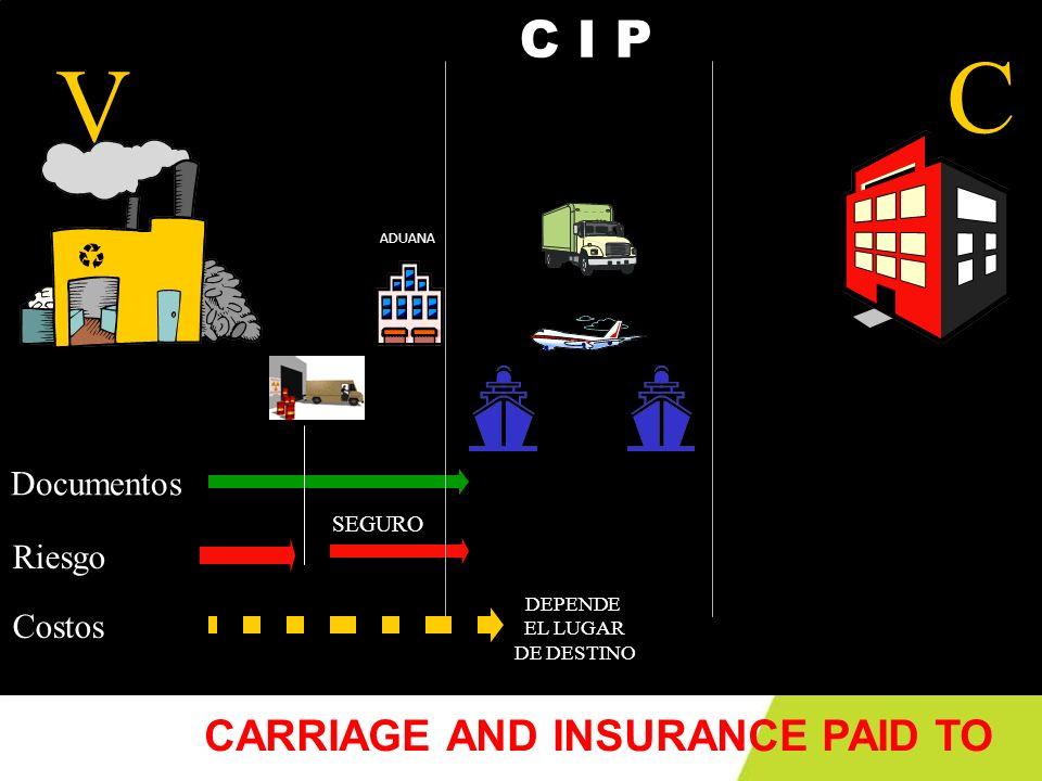 Documentos Riesgo Costos DEPENDE EL LUGAR DE DESTINO SEGURO V C ADUANA C I P CARRIAGE AND INSURANCE PAID TO