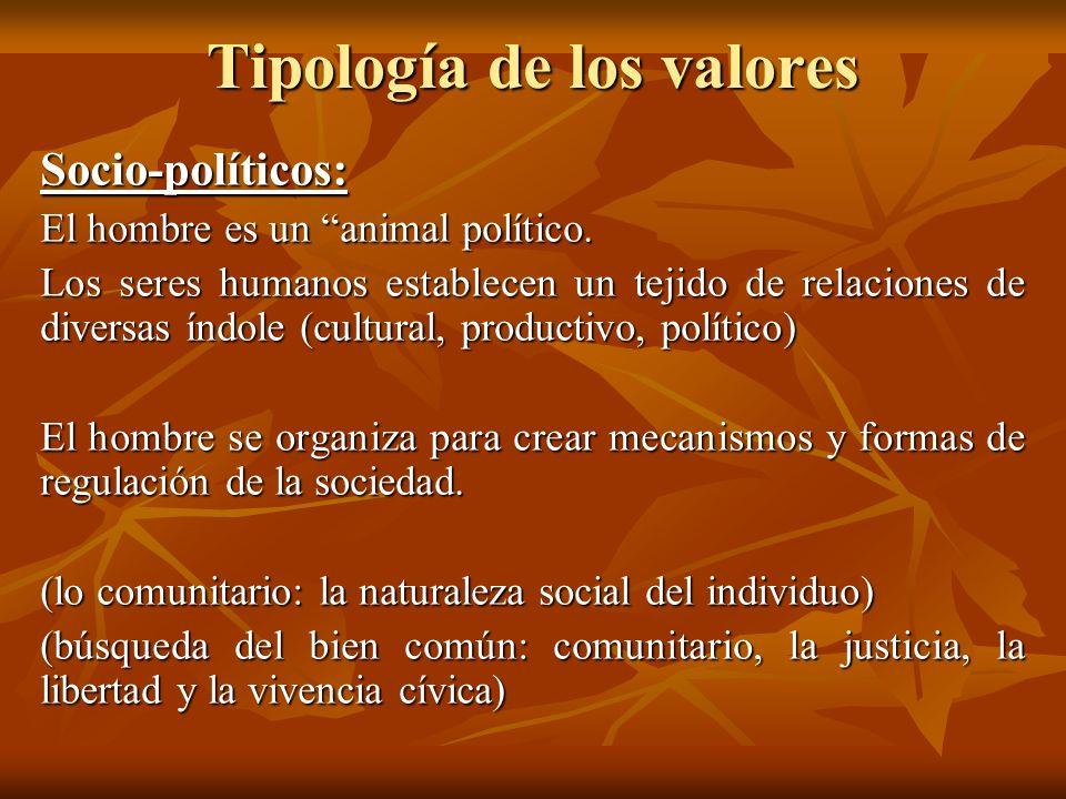 Tipología de los valores Socio-políticos: El hombre es un animal político. Los seres humanos establecen un tejido de relaciones de diversas índole (cu