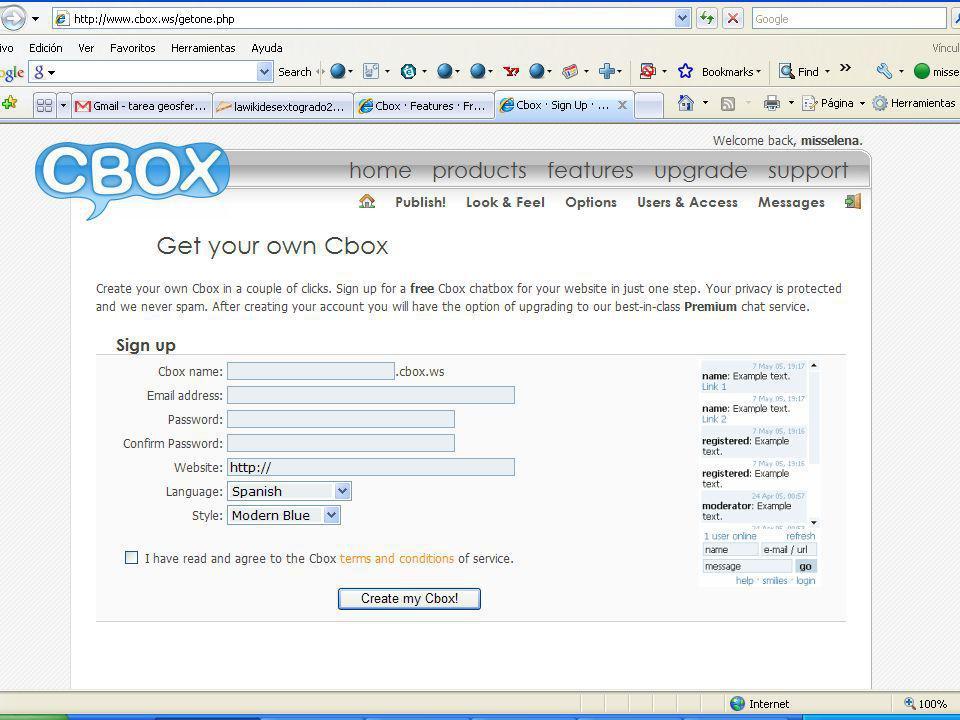 Miss Elena Instrucciones para crear una cuenta Cbox Haces click en Insert pluging