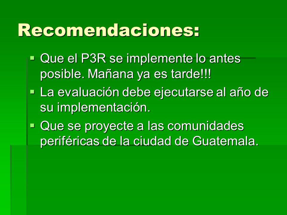 Recomendaciones: Que el P3R se implemente lo antes posible. Mañana ya es tarde!!! Que el P3R se implemente lo antes posible. Mañana ya es tarde!!! La