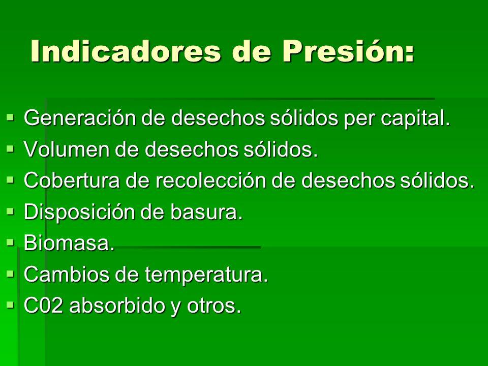Indicadores de Presión: Generación de desechos sólidos per capital. Generación de desechos sólidos per capital. Volumen de desechos sólidos. Volumen d