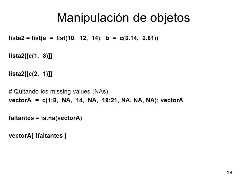 Manipulación de objetos lista2 = list(a = list(10, 12, 14), b = c(3.14, 2.81)) lista2[[c(1, 3)]] lista2[[c(2, 1)]] # Quitando los missing values (NAs)