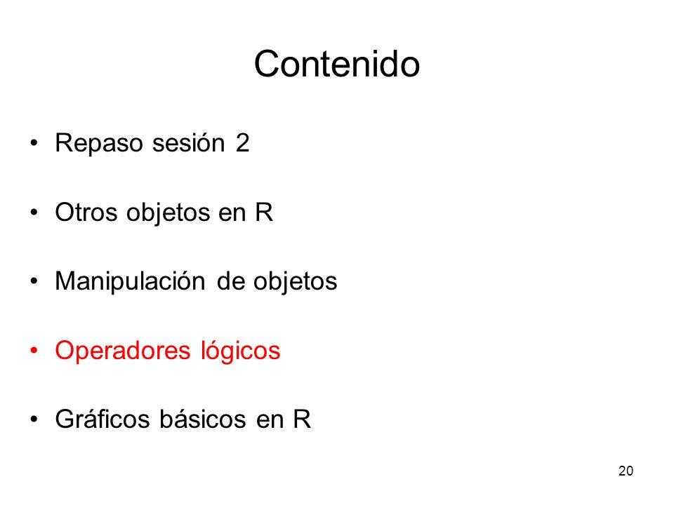 Contenido Repaso sesión 2 Otros objetos en R Manipulación de objetos Operadores lógicos Gráficos básicos en R 20