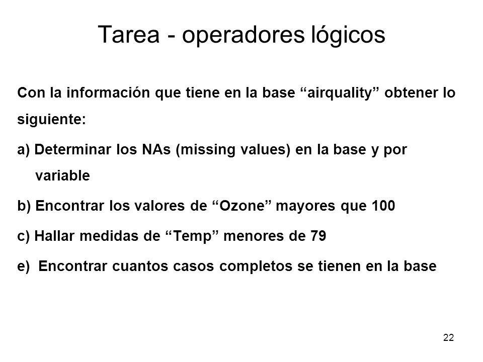 Tarea - operadores lógicos Con la información que tiene en la base airquality obtener lo siguiente: a) Determinar los NAs (missing values) en la base