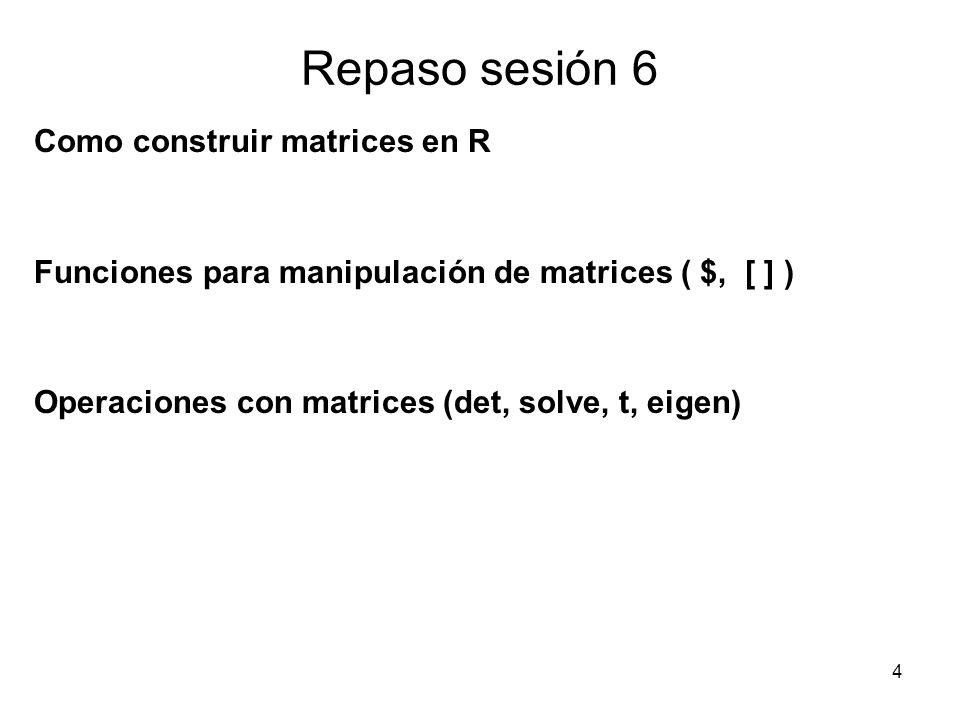 Contenido Repaso sesión 2 Otros objetos en R Manipulación de objetos Operadores lógicos Gráficos básicos en R 15