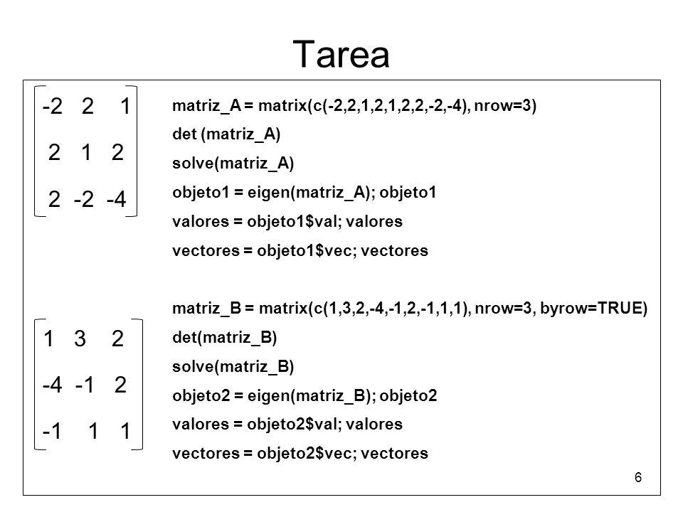 Tarea x + 2y + 3z = 24 4x + 5y + 6z = 32 7x + 8y + 9z = 41 x + 2y + 3z = 24 4x + 5y + 6z = 32 7x + 8y - 9z = 41 7 x1=scan() matriz_C=matrix(x1,nrow=3) det(matriz_C) solve(matriz_C) Error in solve.default(matriz_C) : system is computationally singular: reciprocal condition number = 2.20304e-18 x2=scan() matriz_D=matrix(x2, nrow=3, byrow=TRUE) y2=c(24,32,41) det(matriz_D) invmatriz_D=solve(matriz_D) solu1=invmatriz_D%*%y2; solu1 solu2=solve(matriz_D,y2); solu2