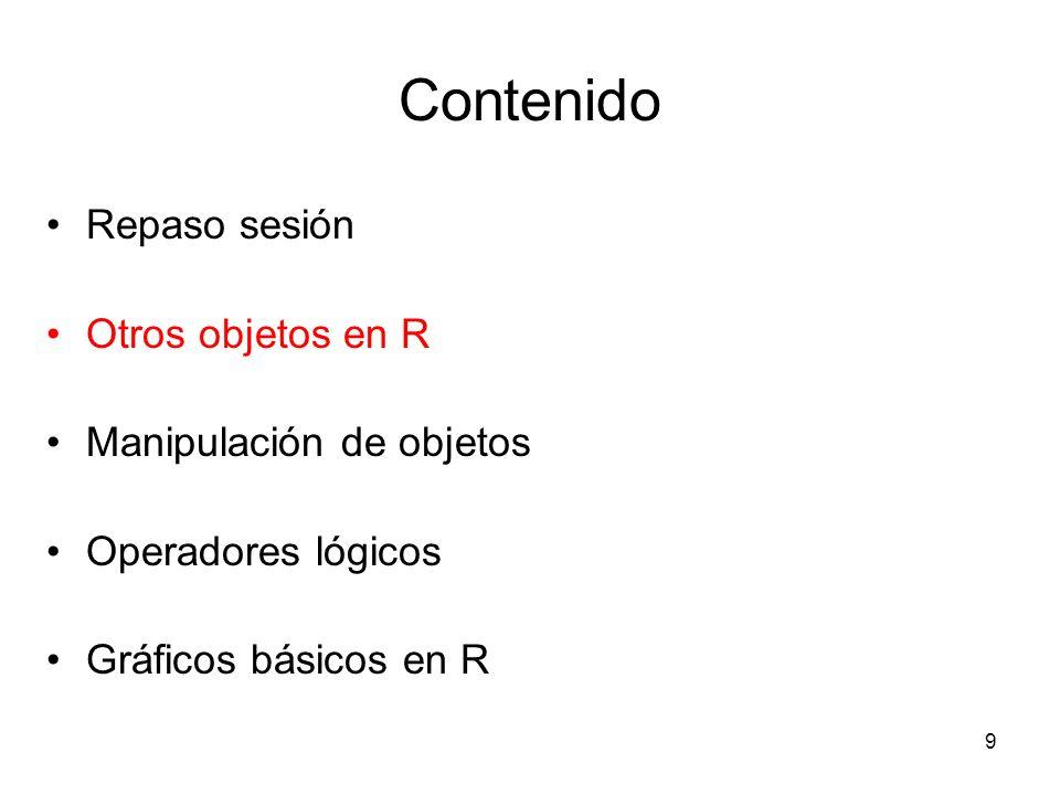 Contenido Repaso sesión Otros objetos en R Manipulación de objetos Operadores lógicos Gráficos básicos en R 9