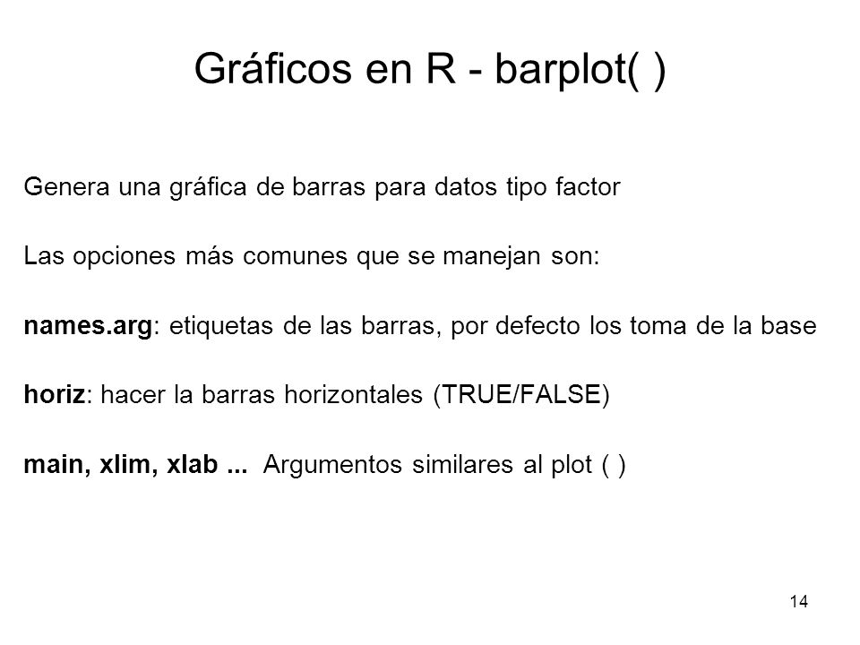 Gráficos en R - barplot( ) Genera una gráfica de barras para datos tipo factor Las opciones más comunes que se manejan son: names.arg: etiquetas de la