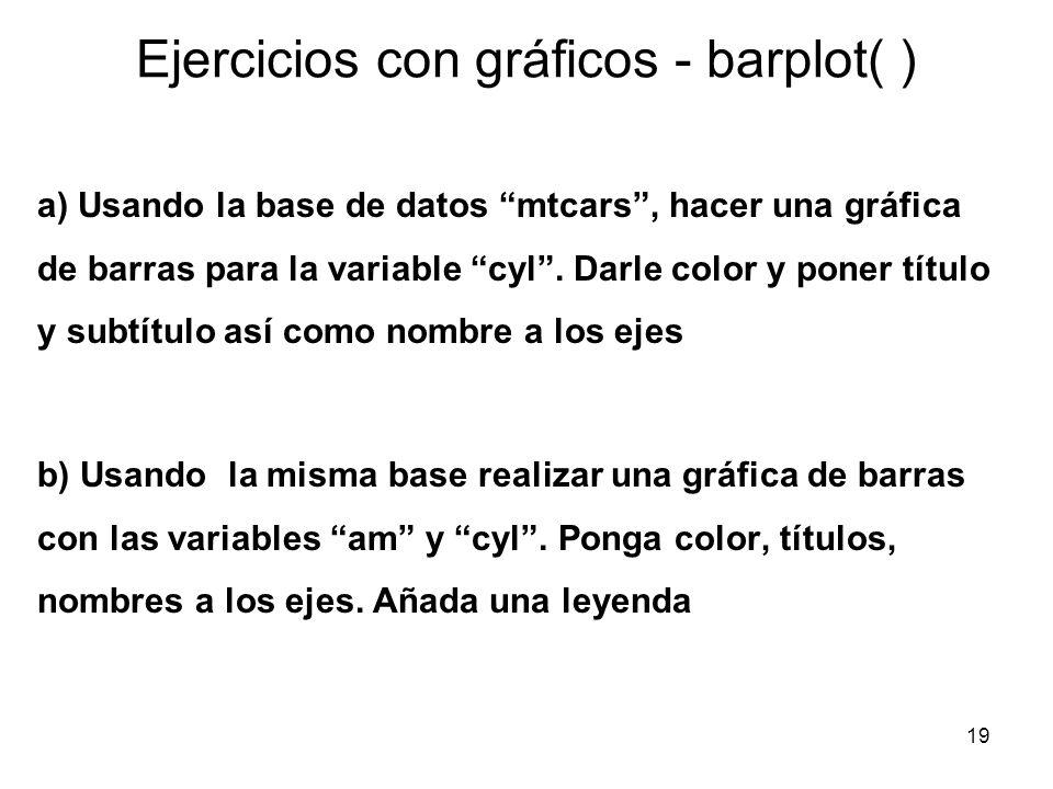 Ejercicios con gráficos - barplot( ) a) Usando la base de datos mtcars, hacer una gráfica de barras para la variable cyl. Darle color y poner título y