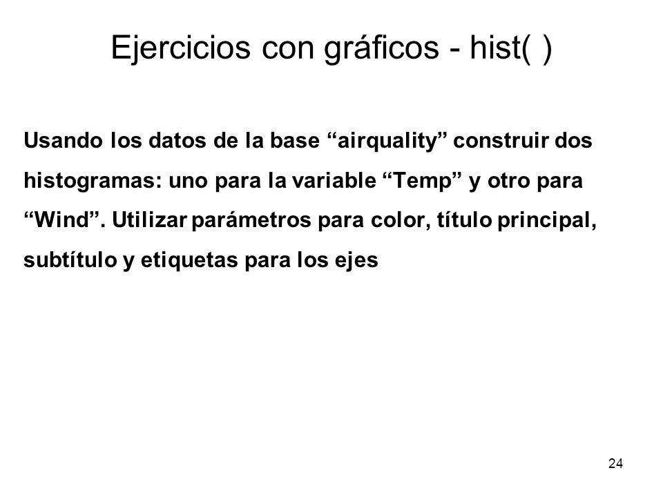 Ejercicios con gráficos - hist( ) Usando los datos de la base airquality construir dos histogramas: uno para la variable Temp y otro para Wind. Utiliz