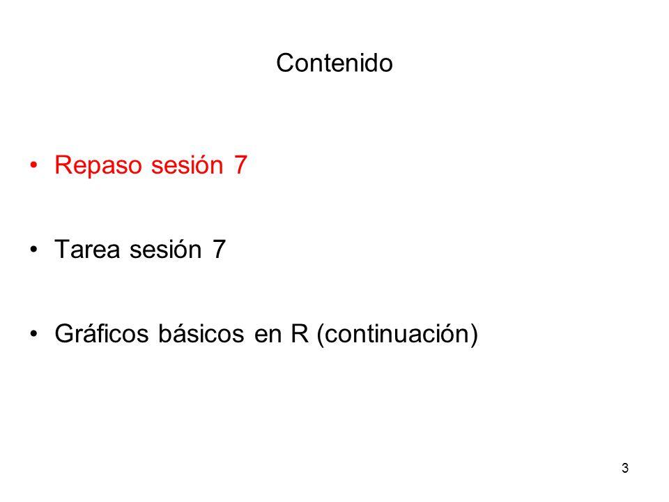 Repaso sesión 7 Tres nuevos objetos en R: listas, factores, dataframes Manipulación o indexación de objetos con [, [[ y $ Operadores lógicos (, >=, <=, ==, !=,  , &) Explorar algunas bases de datos de R, data( ), names( ), head ( ), airquality[ ] Gráficos de dispersión y los argumentos más comunes 4