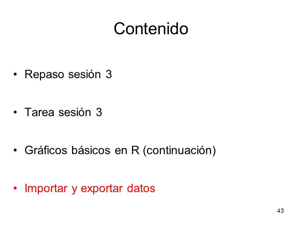 Contenido Repaso sesión 3 Tarea sesión 3 Gráficos básicos en R (continuación) Importar y exportar datos 43