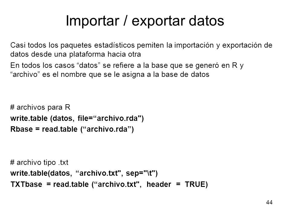 Importar / exportar datos Casi todos los paquetes estadísticos pemiten la importación y exportación de datos desde una plataforma hacia otra En todos
