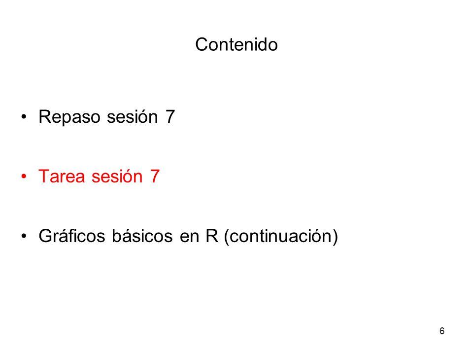 Tarea sesión 3 options (digits=3) var1 = round (rnorm(100,26,2.5)) set.seed (123) var2 = rnorm (100,7,1.25) var3 = c (rep (1,30), rep (2,40), rep (3,30)) var4 = c (rep (0,75), rep (1,25)) fv3 = factor (var3, levels=1:3, labels = c ( soltero , casado , divorciado )) fv4 = factor (var4, levels = 0:1, labels = c ( si , no )) 7