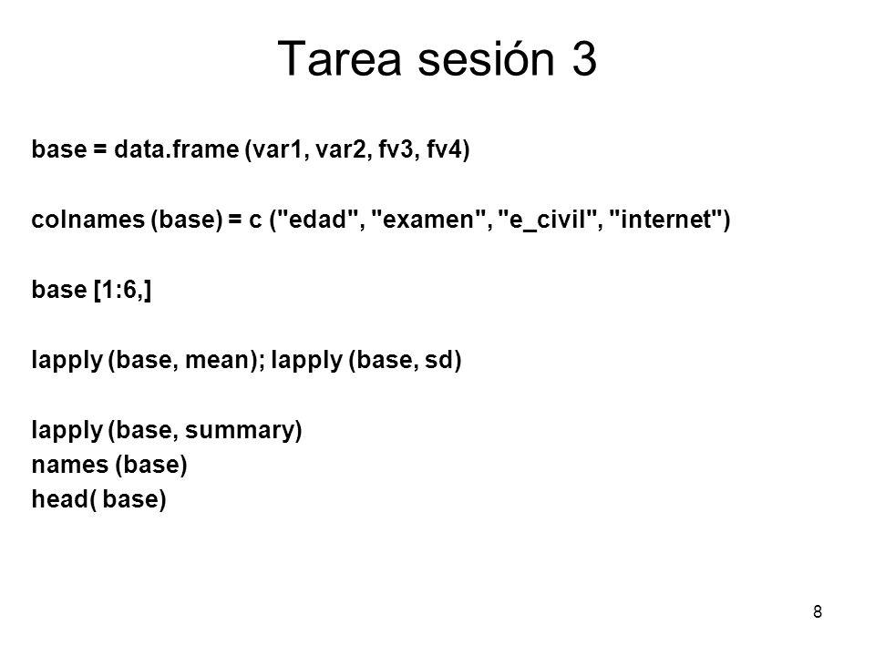 Tarea sesión 3 base = data.frame (var1, var2, fv3, fv4) colnames (base) = c (