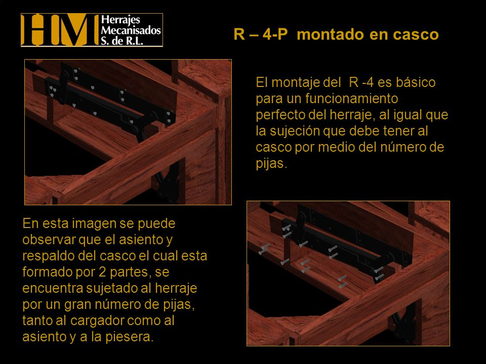 El montaje del R -4 es básico para un funcionamiento perfecto del herraje, al igual que la sujeción que debe tener al casco por medio del número de pi