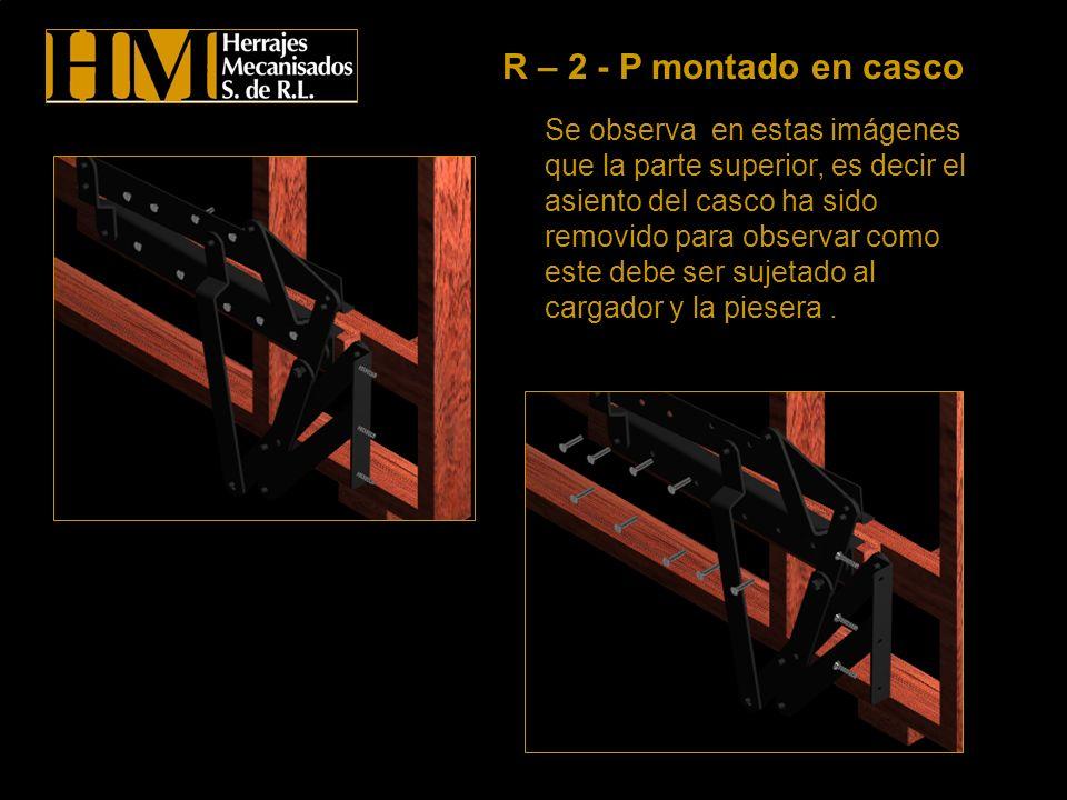 Se observa en estas imágenes que la parte superior, es decir el asiento del casco ha sido removido para observar como este debe ser sujetado al cargad