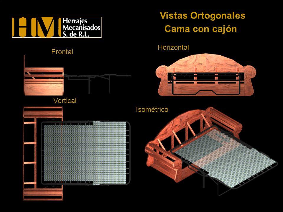 Cama con cajón Vistas Ortogonales Frontal Horizontal Vertical Isométrico