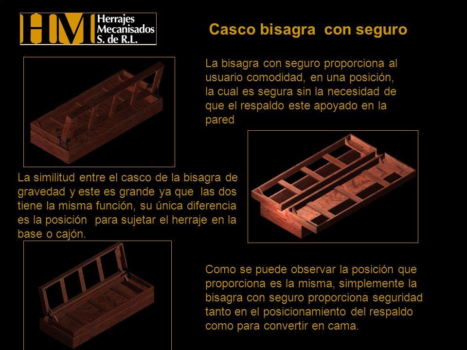 Casco bisagra con seguro La bisagra con seguro proporciona al usuario comodidad, en una posición, la cual es segura sin la necesidad de que el respald