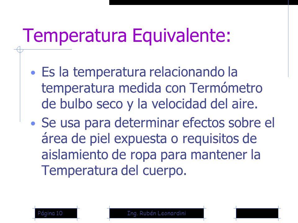 Ing. Rubén LeonardiniPágina 10 Temperatura Equivalente: Es la temperatura relacionando la temperatura medida con Termómetro de bulbo seco y la velocid