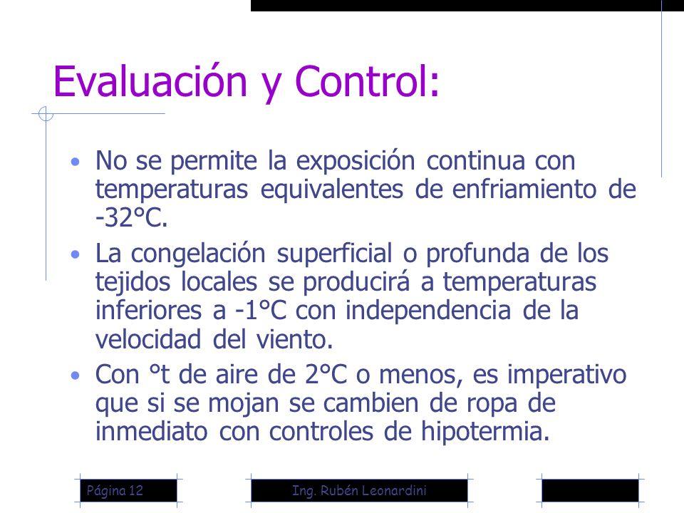 Ing. Rubén LeonardiniPágina 12 Evaluación y Control: No se permite la exposición continua con temperaturas equivalentes de enfriamiento de -32°C. La c