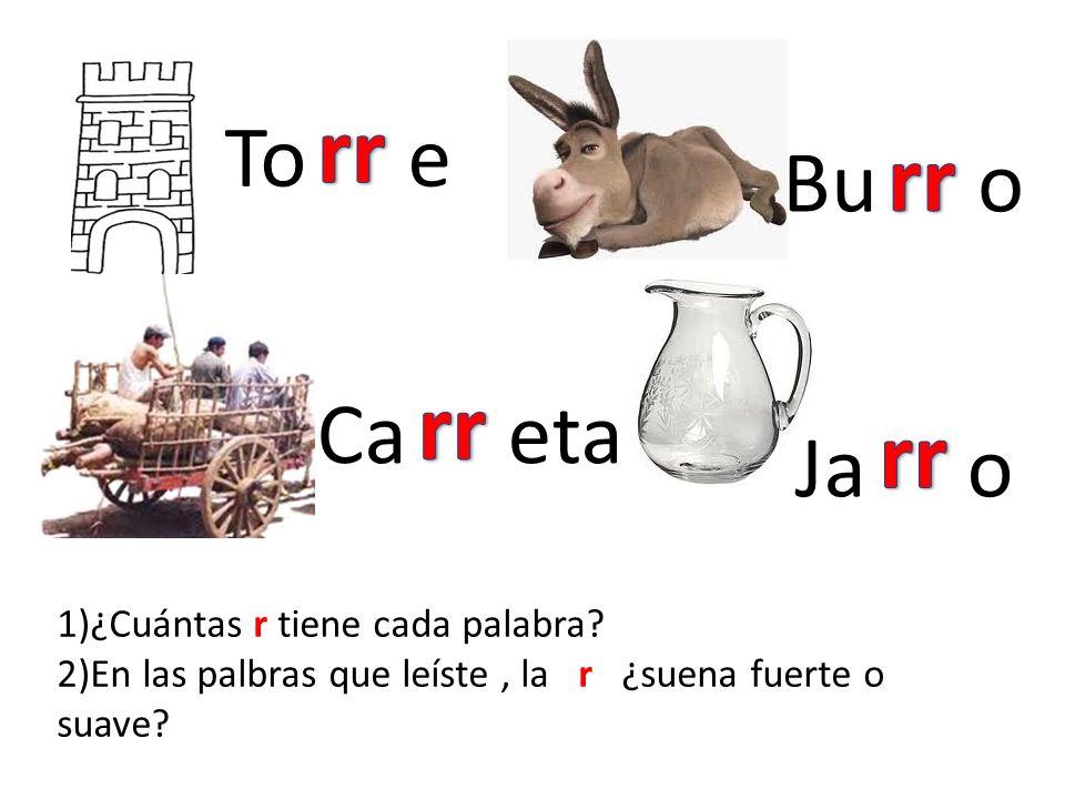 To e Bu o Ca eta Ja o 1)¿Cuántas r tiene cada palabra? 2)En las palbras que leíste, la r ¿suena fuerte o suave?