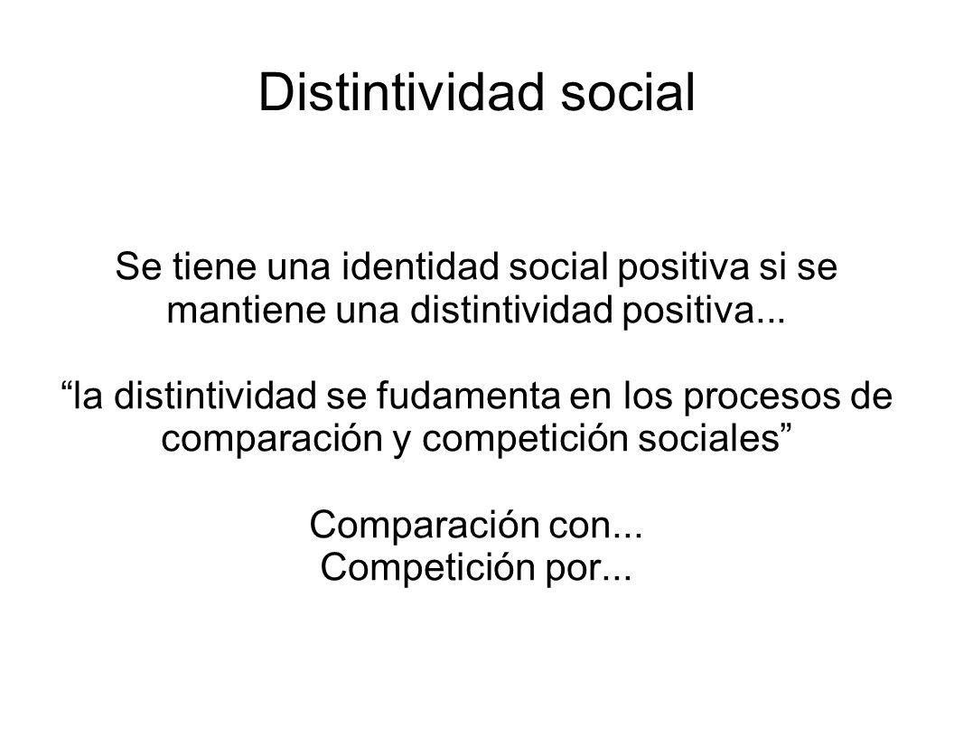Distintividad social Se tiene una identidad social positiva si se mantiene una distintividad positiva... la distintividad se fudamenta en los procesos