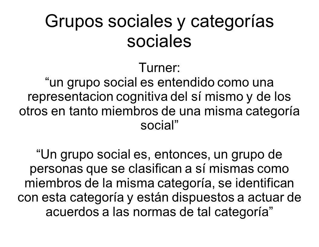 Grupos sociales y categorías sociales Turner: un grupo social es entendido como una representacion cognitiva del sí mismo y de los otros en tanto miem