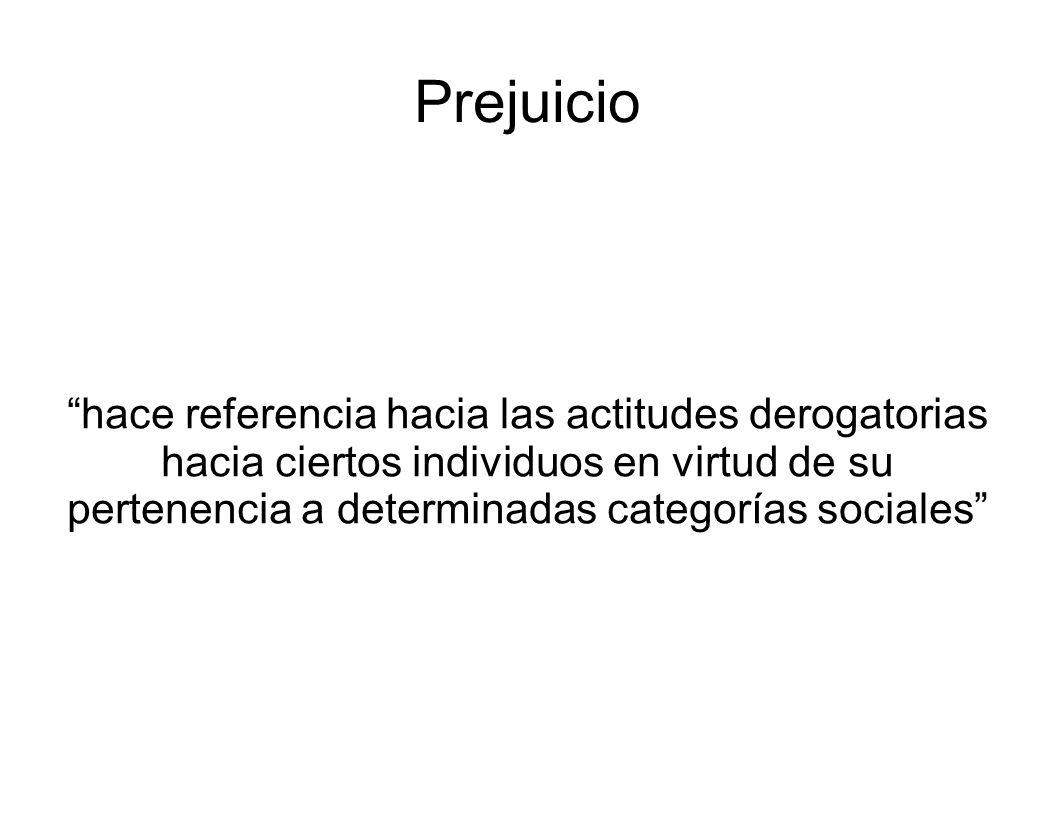 Prejuicio hace referencia hacia las actitudes derogatorias hacia ciertos individuos en virtud de su pertenencia a determinadas categorías sociales