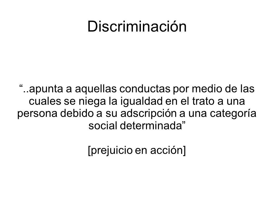 Discriminación..apunta a aquellas conductas por medio de las cuales se niega la igualdad en el trato a una persona debido a su adscripción a una categ