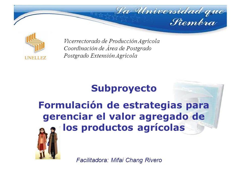Subproyecto Formulación de estrategias para gerenciar el valor agregado de los productos agrícolas Facilitadora: Mifai Chang Rivero Vicerrectorado de