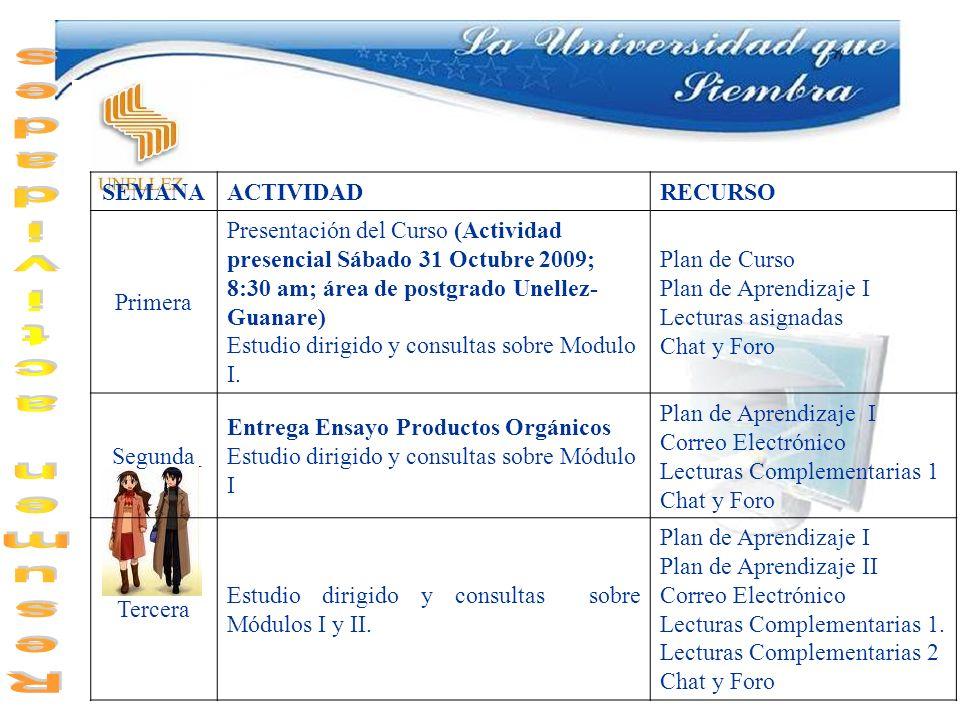 SEMANAACTIVIDADRECURSO Primera Presentación del Curso (Actividad presencial Sábado 31 Octubre 2009; 8:30 am; área de postgrado Unellez- Guanare) Estud