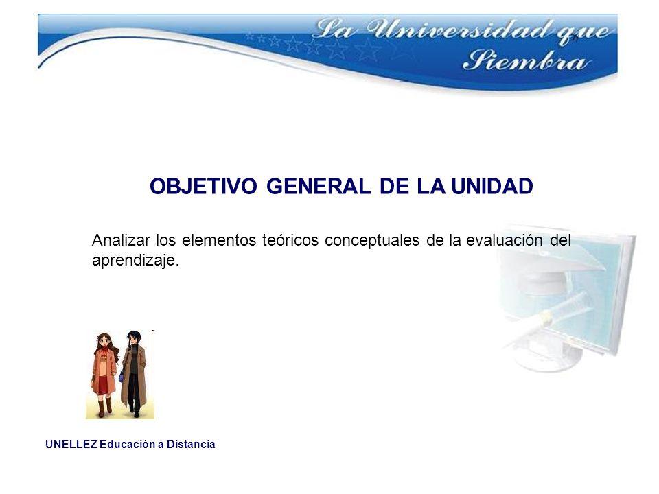 UNELLEZ Educación a Distancia OBJETIVO GENERAL DE LA UNIDAD Analizar los elementos teóricos conceptuales de la evaluación del aprendizaje.