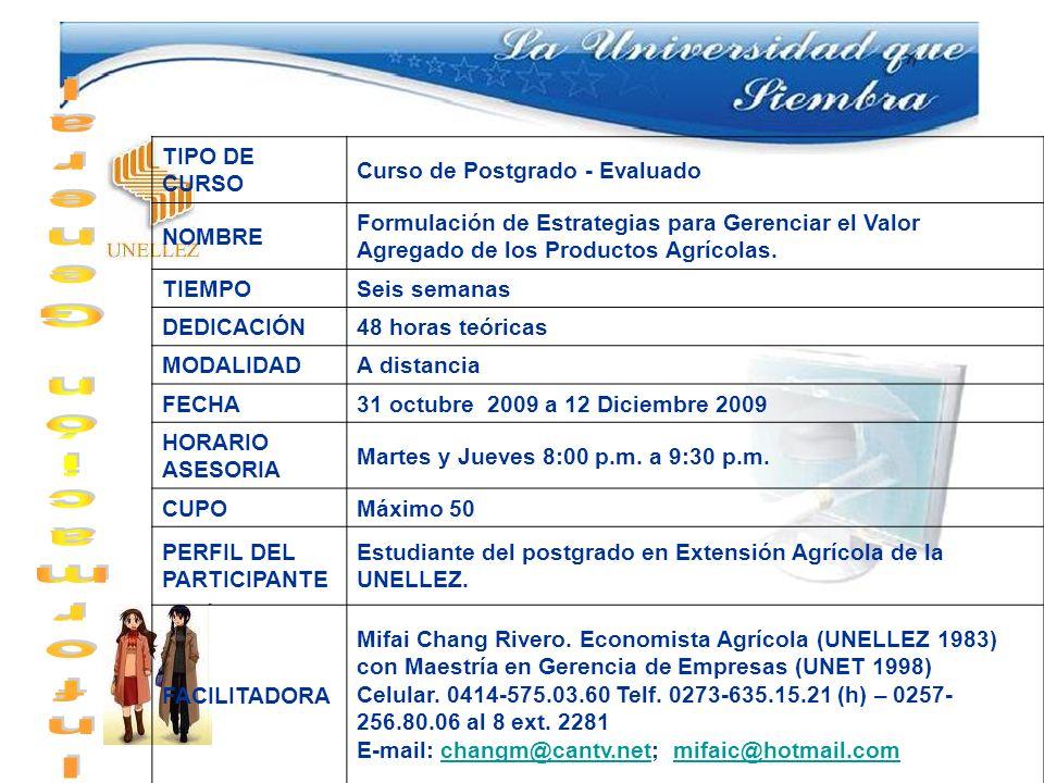 TIPO DE CURSO Curso de Postgrado - Evaluado NOMBRE Formulación de Estrategias para Gerenciar el Valor Agregado de los Productos Agrícolas. TIEMPOSeis