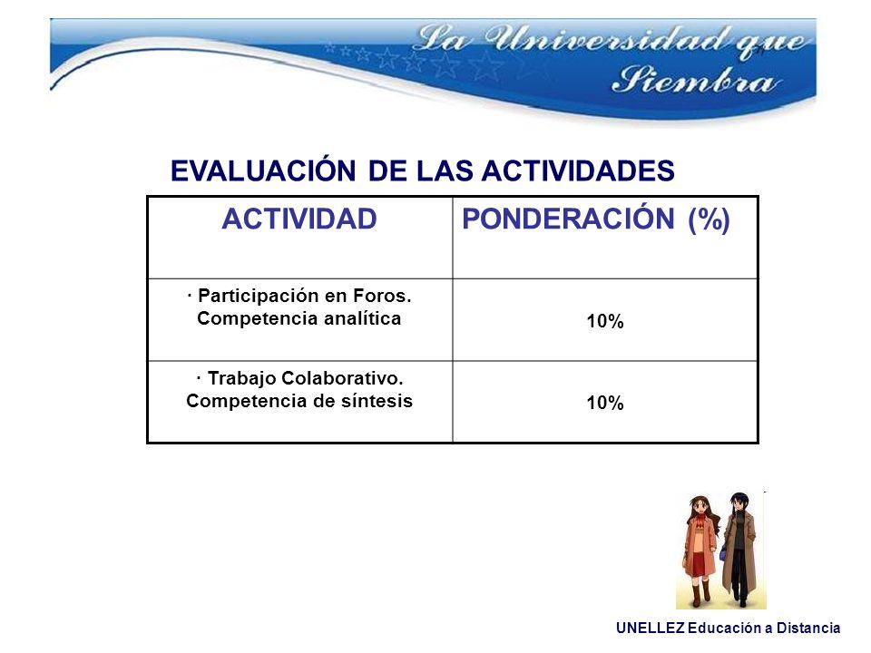 UNELLEZ Educación a Distancia EVALUACIÓN DE LAS ACTIVIDADES ACTIVIDADPONDERACIÓN (%) · Participación en Foros. Competencia analítica 10% · Trabajo Col
