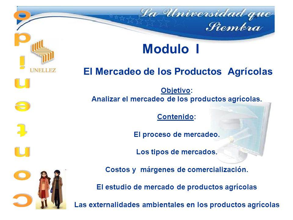 Modulo I El Mercadeo de los Productos Agrícolas Objetivo: Analizar el mercadeo de los productos agrícolas. Contenido: El proceso de mercadeo. Los tipo