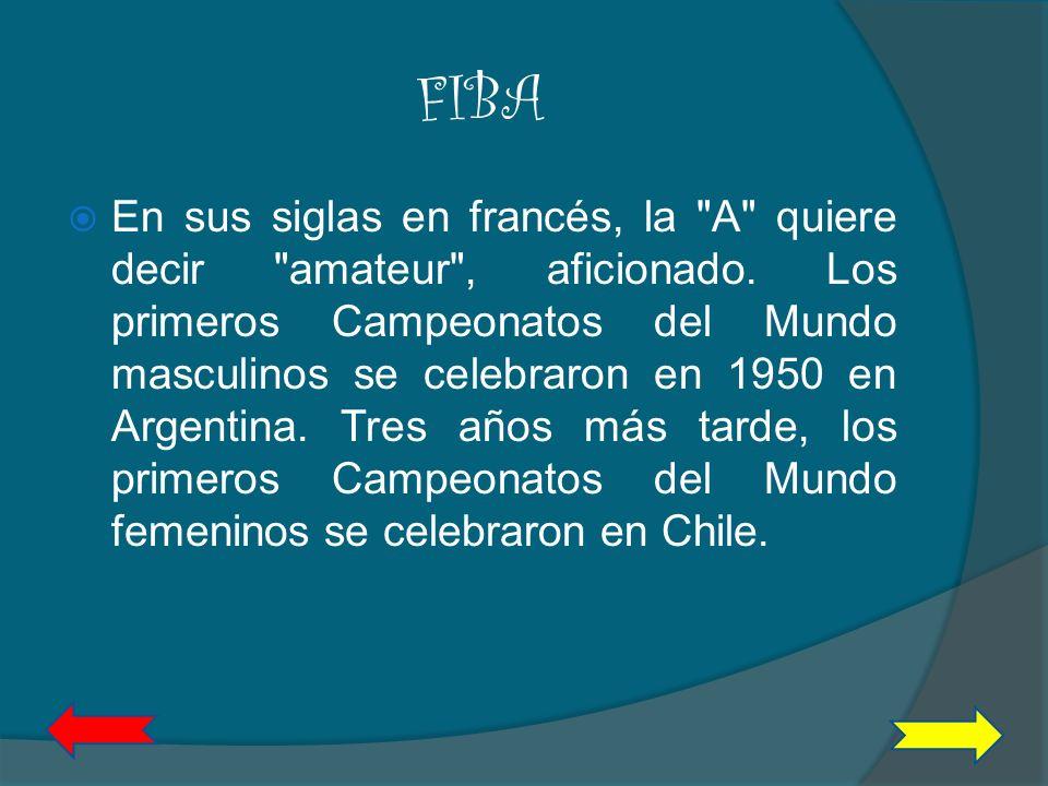 FIBA Federación Internacional de Baloncesto La Federación Internacional de Baloncesto se formó en 1932 por ocho países fundadores: Argentina, Checoslo